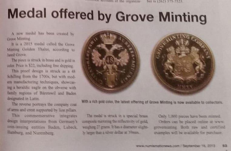 Grove Minting 2015 Golden Thaler