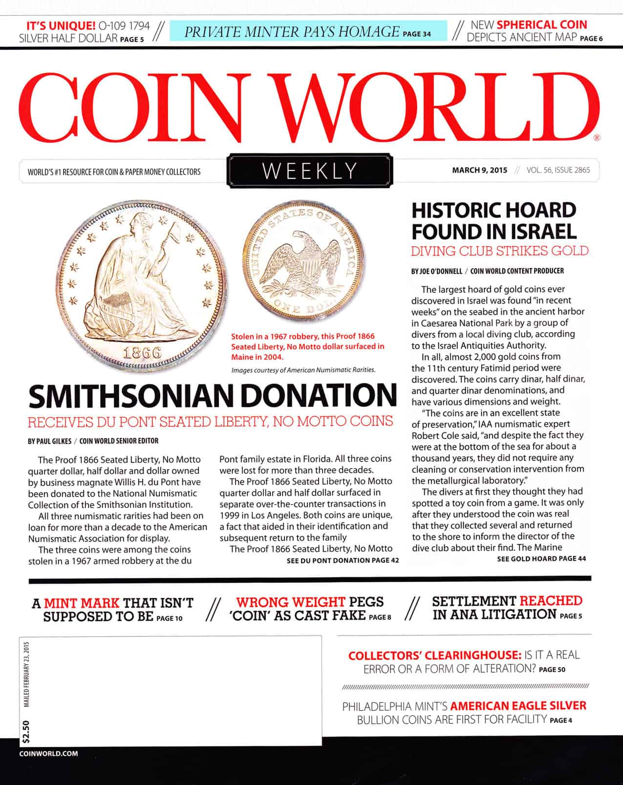 Coin World Cover - Grove Minting
